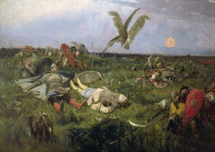 Vasnetsov, Viktor: After the Battle between Prince Igor Svyatoslavich of Kiev and the Polovtsy, 1880. Fine Art Print/Poster. Sizes A4/A3/A2/A1 (00585)